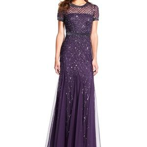 Adrianna Papell Purple Mesh Silver Beaded Gown 4